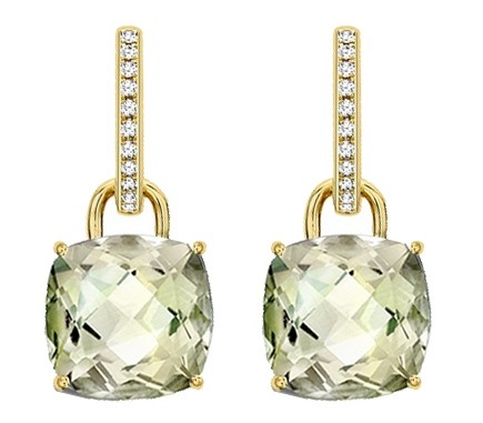Kiki Mcdonough Yellow Gold Cushion Cut Citrine Drops